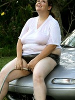 gorgeous bbw hottie washing her car
