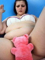 horny bbw milla playing with her teddy bear
